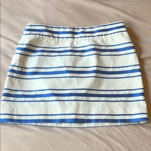 Cream and Blue J crew mini skirt